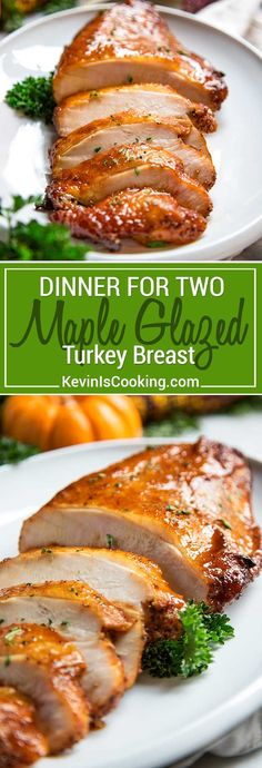 Dry brined for 12 hours with spices, roasted and basted with a maple, brown sugar, Sriracha  sauce, this Brown Sugar Maple Glazed Turkey breast is a tasty meal for two! #turkeyrecipe #maple