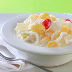 Traditional buko salad or young coconut salad (Filipino recipe) credit to owner. Filipino Dishes, Filipino Desserts, Filipino Recipes, Asian Recipes, Filipino Food, Ethnic Recipes, Pinoy Food, Pinoy Dessert, Pinoy Recipe