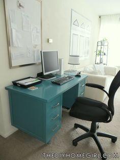 repainted vintage tanker desk  | ... office makeover with black white silver teal wood vintage tanker desk