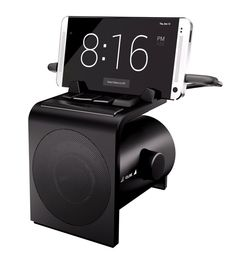 Android docking station with real buttons to control your Android phone: volume, brightness, snooze, music playback. All-in-one alarm clock, charging dock, sleep machine, stereo, speakerphone, and smart notification manager.