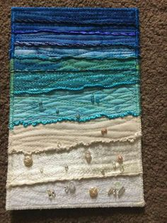 Like the edge instead of binding Bargello Quilts, Batik Quilts, Applique Quilts, Ocean Quilt, Beach Quilt, Fabric Cards, Fabric Postcards, Small Quilts, Mini Quilts