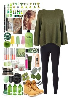 """""""The Great Green outdoors..."""" by applejice221 ❤ liked on Polyvore featuring TOUS, NIKE, The Row, Timberland, Ray-Ban, Clinique, Aesop, Nest Fragrances, Urban Decay and Urbanears"""