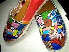 Zapatos pintados a mano- SUS- Caballos estilo Pop Art and Brito
