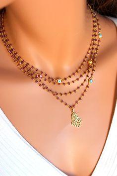 Hamsa Necklace Garnet Gemstones Gold Filled by divinitycollection
