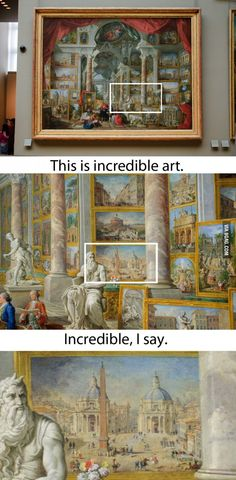 An art show inside of a painting, incredible indeed..
