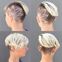 45 Undercut Hairstyles with Hair Tattoos for Women With Short or Long Hair - Kurz haare Undercut Women, Short Hair Undercut, Undercut Hairstyles, Short Hair Cuts, Cool Hairstyles, Short Hair Styles, Hair Tattoo Designs, Shaved Hair Designs, Short Hair