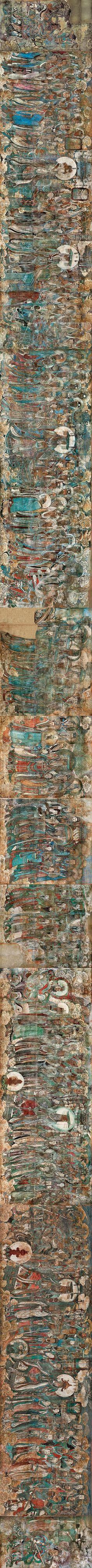 """元 永乐宫壁画 朝元图 原貌 永乐宫位于山西省芮城县永乐镇,建于元代,原名大纯万寿宫,是为奉祀""""八仙""""之一吕洞宾而建造的大型道观。永乐宫壁画不仅是我国绘画史上的重要杰作,在世界绘画史上也是罕见的巨型制作。整个壁画共有1000平方米,分别画在无极殿、三清殿、纯阳殿和重阳殿里。三清殿是座主殿,该殿壁画《朝元图》,是永乐宫壁画的精髓,完成于1325年,由河南府洛京勾山马七等11位民间画师所绘。该幅壁画画面高4.28米,全长94.68米,总计403平方米,共画天神289身,描绘了中国民间诸神朝拜玉清元始天尊、上清灵宝道君和太清太上老君三位主神的情景。其中,帝后主像高达2.85米,玉女的身高也在1.95米以上,超过了一般真人的高度。http://jsl641124.blog.163.com/blog/static/17702514320127310939789/"""