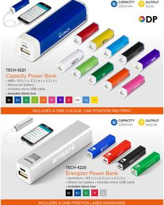 Best Branding offers an amazing Power Bank Special  For this month only, we are offering our Energizer and Capacity Power Banks at incredibly low prices, available in the colours featured above.  These fantastic Power Banks are sure to go fast so get your orders in now, while stocks last.  Additionally, the price of each of these power banks include the branding method indicated in the table below.  This special is valid until the 29 July 2017. TECH-4221Capacity Power Bank-one-colour… Brand Power, Stylus, One Color, Banks, Cell Phone Accessories, Usb Flash Drive, You Got This, Phones, Branding