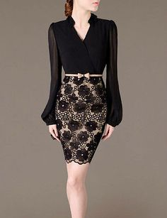 Cheap pencil dress, Buy Quality lace dress directly from China black lace dress Suppliers: 2016 New Long Sleeve Patchwork V-Neck Black Lace Dress Bodycon Bandage Pencil Dress Plus Size Vestidos Office Wear OL With Belt Elegant Dresses, Pretty Dresses, Vintage Dresses, Beautiful Dresses, Casual Dresses, Trend Fashion, Look Fashion, Womens Fashion, Fashion Black