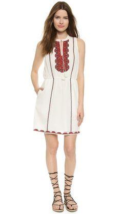 Madewell Embroidered Tassel Dress