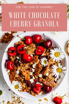 White chocolate cherry granola is your new favorite homemade granola recipe. This easy granola recipe is the perfect healthy breakfast or snack. Serve homemade granola with yogurt or milk. Made with dried cherries and white-chocolate chips, it's gluten-free and naturally-sweetened. #granola #homemadegranola Chocolate Cherry, Chocolate Chips, White Chocolate, Delicious Breakfast Recipes, Brunch Recipes, Yummy Food, Tasty, Quick Snacks, Healthy Snacks