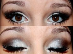 prom makeup! - Miranda. With a little bit of glitter and not quite so extended past the eye.