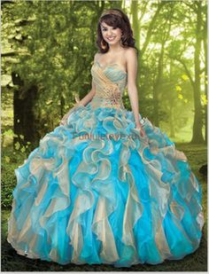 Sexy Ball Gown Strapless Sweetheart Gold Blue Multi Color Ruffle Formal Pageant  Evening Gown Long Prom Quinceanera Dresses $159.00