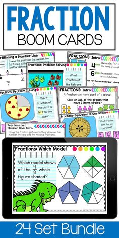 Jun 14, 2020 - Digital Self-Checking Boom Cards are a great way to help your students learn and practice their skills. This BUNDLE contains 24 decks. These decks feature multiple choice, drag and drop, fill in the answer, and more! 3rd Grade Fractions Test PrepAligned to 3rd grade StandardsProduct Includes:-24 d... 3rd Grade Fractions, Learning Fractions, Math Fractions, Math Made Easy, Fraction Activities, Math Strategies, Third Grade, Fourth Grade, Math Workshop