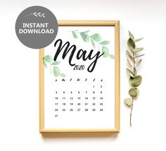 May 2020 Calendar Instant Download Pregnancy Announcement | Etsy
