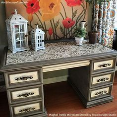 13 Easy DIY Ideas with Moroccan Furniture Stencils from Royal Design Studio Refurbished Furniture, Paint Furniture, Repurposed Furniture, Furniture Projects, Cool Furniture, Antique Furniture, Furniture Stores, Studio Furniture, Rustic Furniture