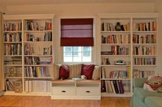 IKEA Billy bookcase and Benno tv bench to built-in with window seat. Wall Bookshelves, Bookshelves Built In, House Interior, Home Library, Window Seat, Bookcase Plans, Home, Ikea Bookshelves, Home Decor