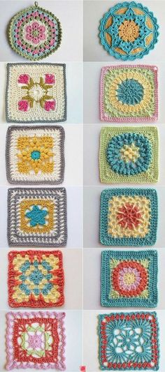 Crochet Granny Square Patterns Cuadrados de ganchillo - Today let's look at ten items from my favorite board: Crochet Blocks and Squares. I love curating examples of this niche of crochet and seeing them laid out side by side! Crochet Motifs, Crochet Blocks, Crochet Squares, Crochet Stitches, Crochet Mandala, Crochet Crafts, Yarn Crafts, Crochet Projects, Knitting Projects