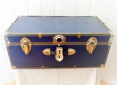 Blue Vintage Trunk, Camping Style Steamer Chest