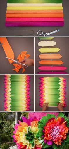 Crepe paper flowers - baby decoration - Ideas to Try - Krepppapierblumen - Baby deko Crepe paper flowers Paper Flowers Wedding, Tissue Paper Flowers, Diy Flowers, Burlap Flowers, Mexican Paper Flowers, Fabric Flowers, Tiki Party, Luau Party, Diy Paper