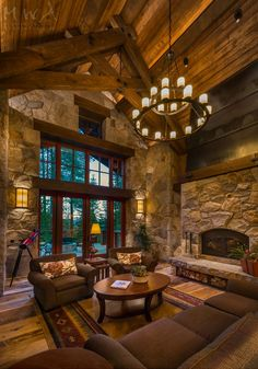 Sustainable Mountain Home - Fine Homebuilding Rustic Home Design, Dream Home Design, House Design, Log Home Interiors, Rustic Interiors, Log Home Living, Living Room, Log Cabin Homes, Log Cabins