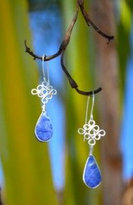 950 Silver Earrings with Sodalite Stones