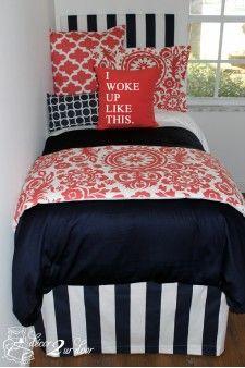 Navy & Coral Medallion Designer Bed In A Bag Set