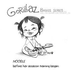 Gorillaz Fan Art, Monkeys Band, Key Frame, Cool Bands, Kawaii Anime, Cute Art, Fantasy Art, Sketches, Animation