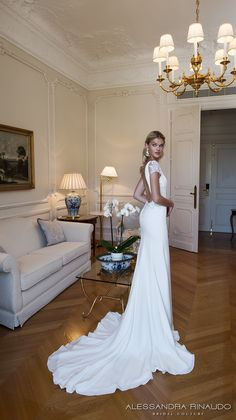 alessandra rinaudo 2017 bridal short sleeves plunging v neck simple clean elegant sheath wedding dress open low back chapel train (brooklyn) bv