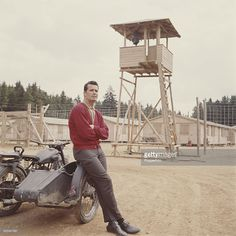 American actor James Garner pictured on the set of the feature film 'The Great Escape' in Germany in Garner plays the character of Flt. Robert Hendley in the film. Escape Movie, Actor James, The Great Escape, Feature Film, American Actors, Classic Hollywood, Role Models, Actors & Actresses, The Past