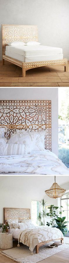 This bed would look perfect in a Moraccan themed room with some poufs and dark paint on the walls | Handcarved Albaron Bed | Moroccan | Handcarved | Wood Bed | Bedroom Decor | Home Decor | Bedroom Furniture | Ad #homedecor #bedroomdecor
