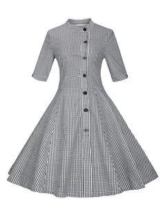 Plaid Buttoned Swing Dress - BLACK M