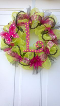 """Hot pink """"L"""" Deco mesh wreath by Tonia"""