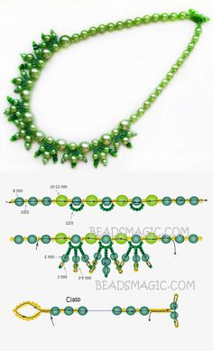 Free pattern for necklace Dryad 11/0-4-6-8 mm golyó-6/0