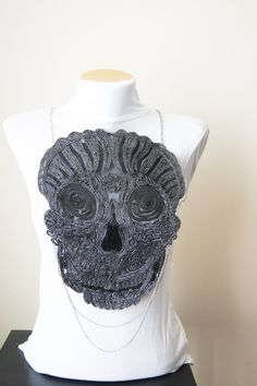Expedited fast shipping Lace Necklace Skull body by SpecialFabrics