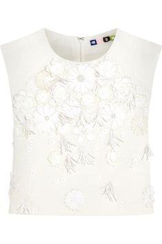 MSGM|Cropped embellished cloqué top|NET-A-PORTER.COM