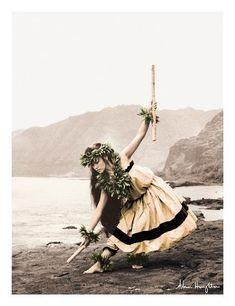 Art Print: Pua with Sticks, Hawaiian Hula Dancer Wall Art by Alan Houghton by Alan Houghton :