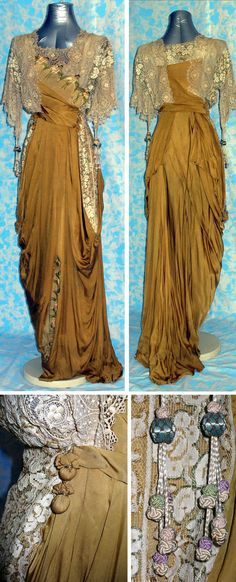 Evening dress, 1912, in mustard-colored silk. Lace inserts, polychrome silk embroidery, decorations and string tassel. Via Abito del Passato.