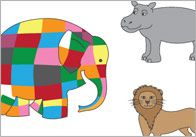 A collection of printable stick / finger puppets featuring our interpretation of characters from the Elmer the Elephant series.