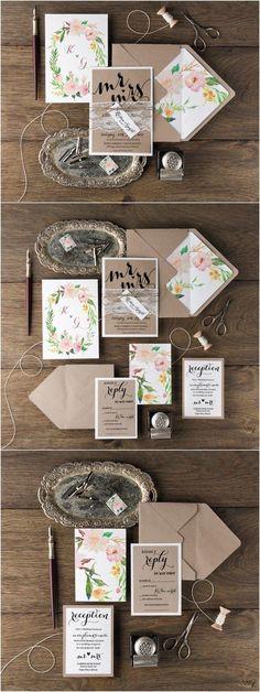 Rustic botanical lace wedding invitation || Bella Collina Weddings