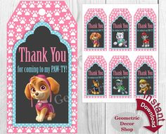Thank you cards Paw Patrol Favor tags by GeometricDecorShop