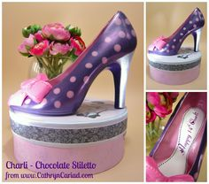 Chocolate Stiletto Shoes available from Cathryn Cariad Chocolates - www.CathrynCariad.com