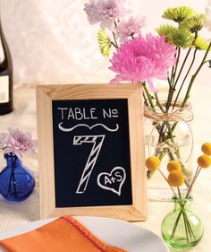 Chalkboard table numbers for the teacher influence :)