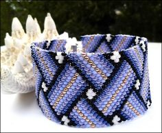 Braided Illusion Hand Beaded Peyote Stitch Purple,Gold,Black Bracelet | specialtivity - Jewelry on ArtFire