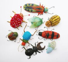 needle felted, bee's wax and wire bugs    Laleebu on Flickr