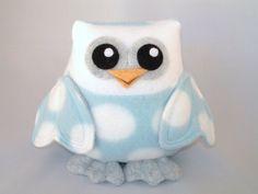 Made to order Plush owl toy in blue polka dot fleece. $18.00, via Etsy.