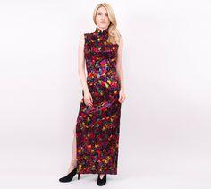 Urlaub Verkauf 70er Blumen Cheongsam Maxi Kleid von VonVixenVintage