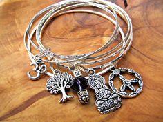 PEACE Buddha Bangle Bracelet Set with Buddha, Tree of Life, Om, Peace Sign, Amethyst Dangle, Zen, Yoga Jewelry, Buddhism, Spiritual,Namaste on Etsy, $24.00