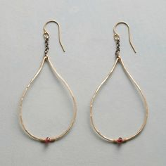 """TINY FLAME EARRINGS--Grace meets cool in hand-hammered, 14kt gold-filled teardrops falling from sterling silver chains and sparked with a fiery red garnet. USA. Exclusive. 2-5/8""""L."""