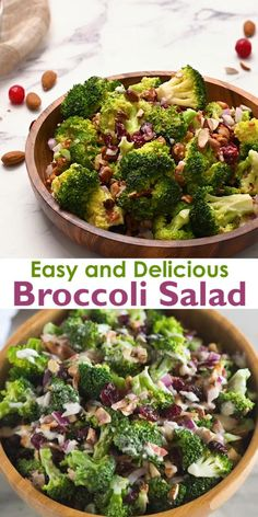 Everyone loves this easy Broccoli Salad recipe made with bacon, almonds, raisins or craisins and onion in a delicious creamy and tangy dressing. Broccoli Salad With Raisins, Healthy Broccoli Salad, Mushroom Zucchini Recipe, Raisin Recipes, Salad Recipes, Healthy Recipes, Healthy Yogurt, Bacon Salad, Appetizer Salads